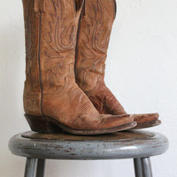Vintage 90s Brown Worn In Distressed Leather Cowboy Boots // Women's Sz 7