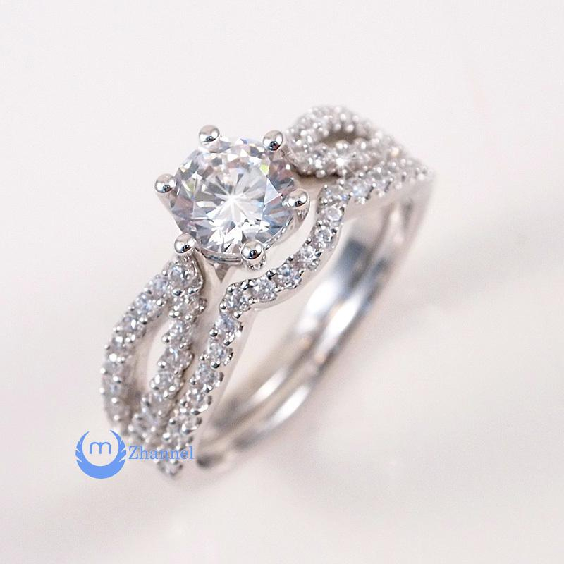 Image of .75ct Engagement Wedding Set 2 RINGS Signity CZ Rhodium over Sterling Silver