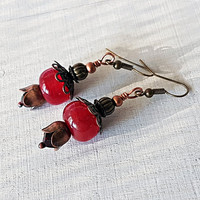 Red Boho Lampwork Earrings, Bohemian glass and copper earrings, Red lampwork earrings, Crimson glass bead earrings, Pomegranate earrings,