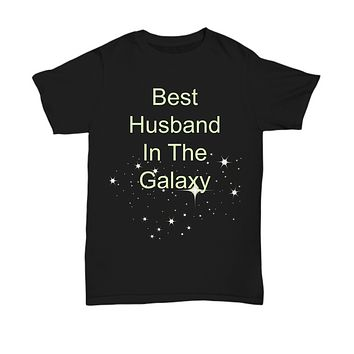Best Husband In The Galaxy- Black T-Shirt-cotton-funny-valentine's-father's day-birthday gifts
