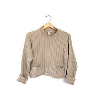 Mock neck RIBBED shirt. Beige knit shirt. CROPPED funnel collar sweater top with pockets. Long sleeves. Preppy Minimal Top. Women's Medium