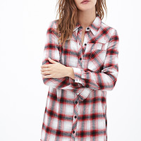 FOREVER 21 Plaid Flannel Shirt Dress Cream/Red