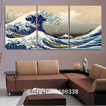 seascape landscape canvas painting 3 panels traditional art scenery picture great Wave off Kanagawa Katsushika Hokusai T/760