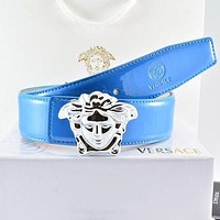 Versace Fashion Smooth Buckle Belt Leather Belt-6