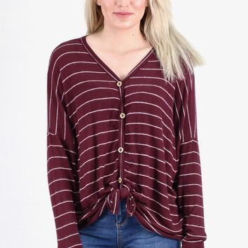 Striped Button Down + Knot Front Hacci Sweater {Maroon/Off White} - Size LARGE