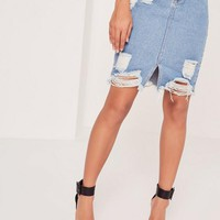 Missguided - Petite Busted Hem Denim Midi Skirt Blue