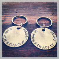 Hand Stamped Silver Avett Brothers Quote From The Ballad of Love and Hate Two Necklaces OR Keychains