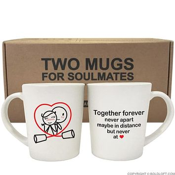 Together Forever™ Couple Coffee Mugs-Couples Gift,His and Hers Couple Mug Set,Couples Matching Gift,Gifts for Girlfriend,Gift for Her,Anniversary Gift,Christmas Gift,Valentines Day Gift