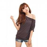 Casual Loose-Fitting Large Boat Neck Short Sleeves Ice Silk Multicolor T-Shirt For Women