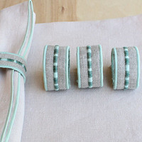 Napkin Rings in Stone Natural Linen /  Set of 4 / Co-ordinate with Beach Collection / Fabric Napkin Rings / Embroidered Detail Teal and Blue