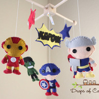 Baby Mobile - Baby Crib Mobile - Super Hero Mobile - Nursery Super Heroes Mobile (You Pick The Super Heroes of your choice)