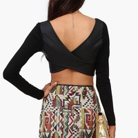 Leather Back Crop Top in Black