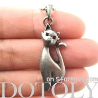 Kitty Cat Animal Pendant Necklace in Silver | Animal Jewelry
