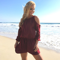 Well Balanced Open Shoulder Romper In Burgundy