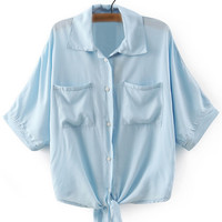 Pockets Buttons Front Self-Tie Bow Lapel Blouse