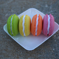 """Set of 4 18"""" Doll Macaroons, Polymer Clay 18"""" Doll Food, Handmade American Girl Doll Food, American Girl Doll Macaroon"""