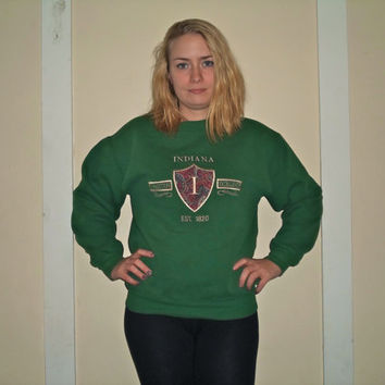 90s Rare Green Indiana University Hoosier Crest Basketball Crewneck Sweatshirt, 1990s IU Pullover Sweater