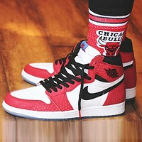 Bunchsun Air Jordan 1 OG AJ1 Fashion Women Men Casual Sport Basketball Shoes Sneakers White&Red