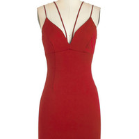 Mid-length Spaghetti Straps Bodycon Strappier Than Ever Dress in Ruby