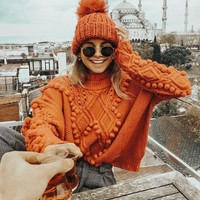 Ball Decoration High Neck Solid Color Loose Women Sweater