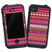 """Pink Geometric Tribal """"Protective Decal Skin"""" for LifeProof iPhone 4/4s Case"""