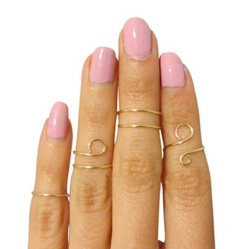 Gold Plated Midi Rings Above the knuckle jewelry - Set of 4