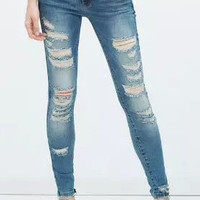 Blue Cut-out Skinny Jeans