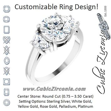 Cubic Zirconia Engagement Ring- The Bree (Customizable 3-stone Design with Round Cut Center and Half-moon Side Stones)