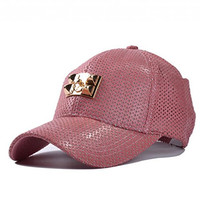 soyagift men women solid leather baseball cap with air holes adjustable hat