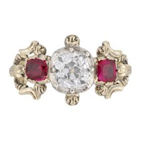 A Victorian ruby and diamond three stone ring - Bentley & Skinner