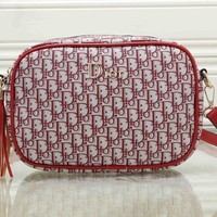 """Dior"" All-match Fashion Letter Sugar Color Hole Quilted Chain Single Shoulder Messenger Bag Women Flip Small Square Bag"