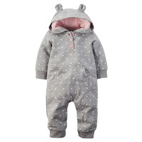 Carter's Polka-Dot Animal Coverall - Baby Girl, Size: