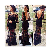 Sexy Lace Chiffon Backless Evening Formal Party Cocktail Long Dress Prom Gown