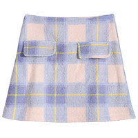 Check Print Pocket Blue Skirt