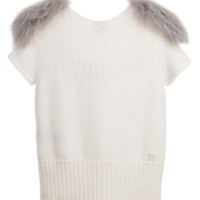 Girls Ivory Top with Fur