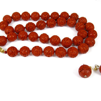 Chinese Cinnabar Bead Necklace. Carved Hand Knotted Long Cinnabar Beaded Necklace. Matching Cinnabar Earrings. Chinese export Jewelry.