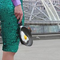 Fried Egg Frying Pan Clutch Bag Purse Eggclutch Fun Food Necklace Friedegg Accessoires Jewelry Cooking Kitchen