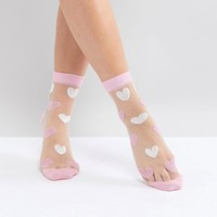 ASOS Sheer Heart Socks at asos.com