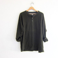 vintage long sleeve army green top. button front henley. cotton thermal long underwear shirt. 2XL