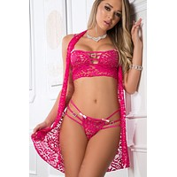 3pc Laced Lingerie Set and Cover-Up Slip - One Size - Berry Kiss