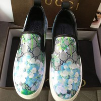 GUCCI Newest Fashion Women Men Casual Blue Flower Print Sneakers Sport Shoes