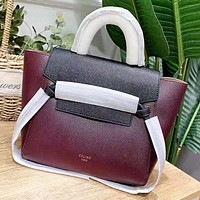 CELINE New fashion contrast color leather shoulder bag women handbag Burgundy