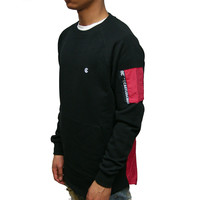 Mens Knit L/S Crew Sweatshirt Bombay In Black