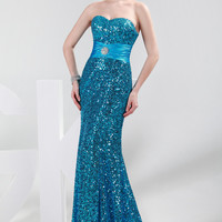 Mermaid  Strapless  Sequined Evening Dress
