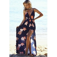 Fashion Flower Print Backless Deep V-Neck Sleeveless Strap Split Beach Maxi Dress