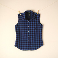 Vintage. Ralph Lauren Blue Sleeveless Shirt. Collar. Checkered Plaid. Button Up Top. Pocket. Preppy. Grunge. Retro. Classic. Small Medium