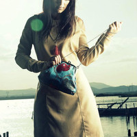 Blue Tapestry with Red and Grey Tulips Clutch Purse Retro,   Sloulder Bag