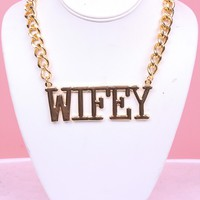 GOLD WIFEY PLAGUE THINK CHAIN LINK NECKLACE