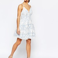 Chi Chi London Petite Lace Prom With Strappy Back