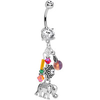 Handcrafted Colorful Crystal Lucky Elephant Dangle Belly Ring | Body Candy Body Jewelry